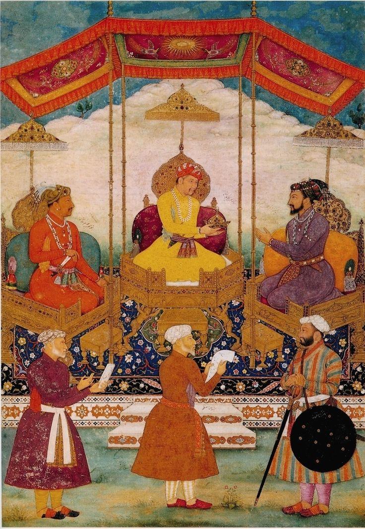 Bichitr. Akbar Hands His Imperial Crown to Shah Jahan