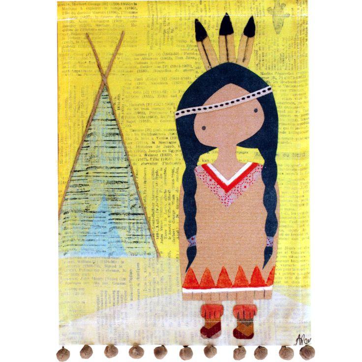 Déco murale enfants - Toile pompons P'tite Sherokee