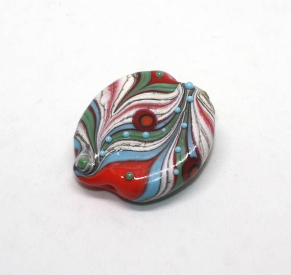 Focal Bead 30 mm Red Blue Turquoise Sherwood Green Ivory