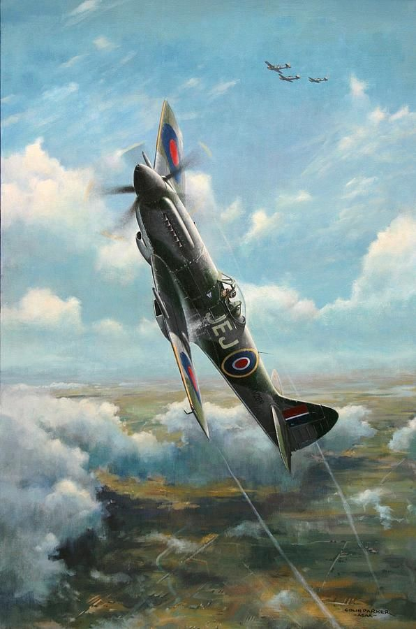 Supermarine Spitfire Mk XIVe - Aviation Art Painting - bandits At 3 Oclock High…                                                                                                                                                                                 More
