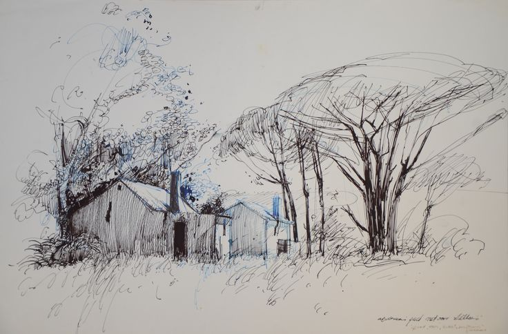 Speedball pen in black and blue ink. Structures next to the road Stellenbosch. 1977