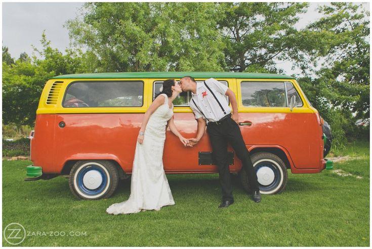 Wedding at Old Mac Daddy, Elgin. Wedding couple photos. Carnival wedding. Posing in front of a restored 'Hippie Van'