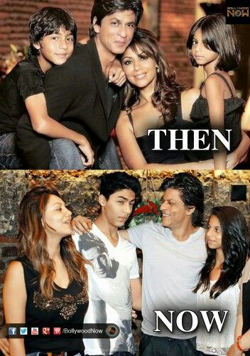 Then Now: Shah Rukh Khan with his wife and kids.