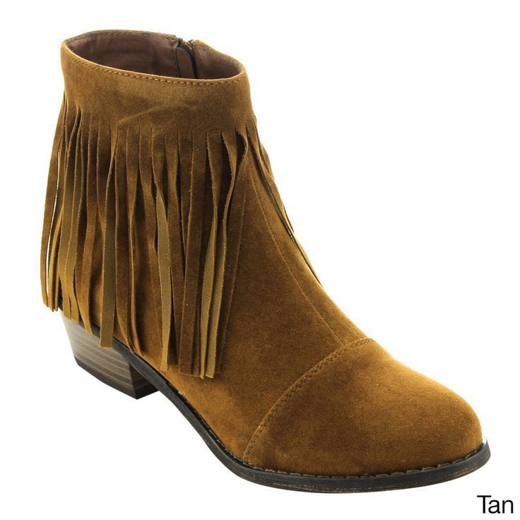 OPPO Breckelle's Women's ED31 Faux Fringe Side Zipper Stacked Chunky Ankle Booties
