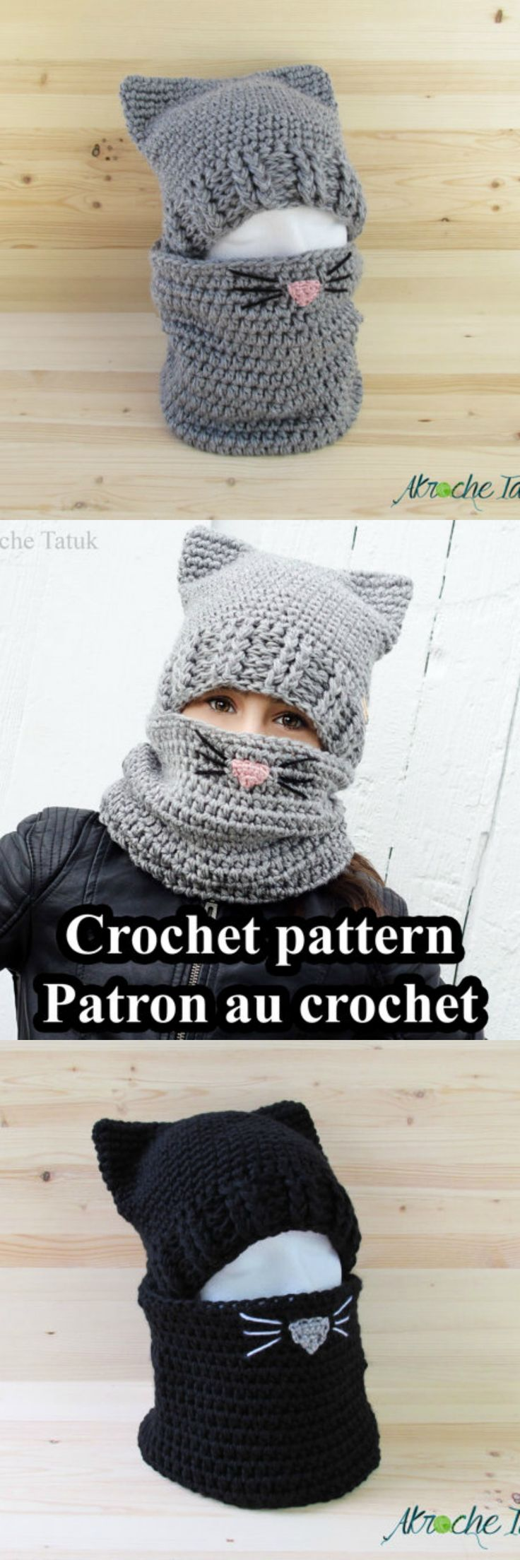 Cat hat crochet pattern. So cute and warm! #crochet #afflink #stitch #style #cozy #winterwear