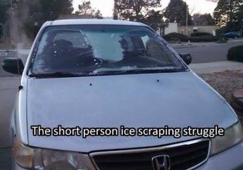 short people ice scraping struggle