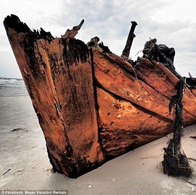 Civil War blockade runner, wreck unearthed by storm erosion. Fort Morgan, Baldwin County Alabama