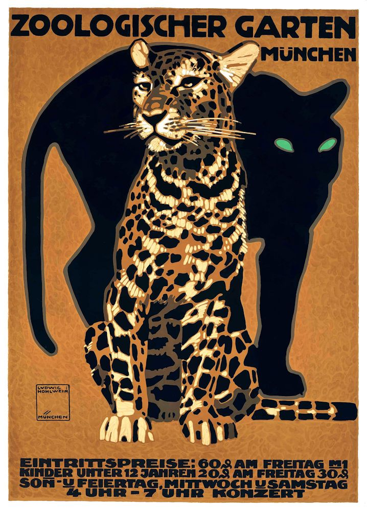 1912 Munich Zoo Leopard And Panther Advertising Poster By Retrospective Collective Poster Art Hohlwein Retro Poster
