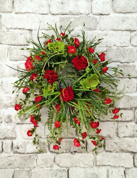 Red Morning Glory Wreath, Front Door Wreath, Silk Floral Wreath, Grapevine  Wreath,
