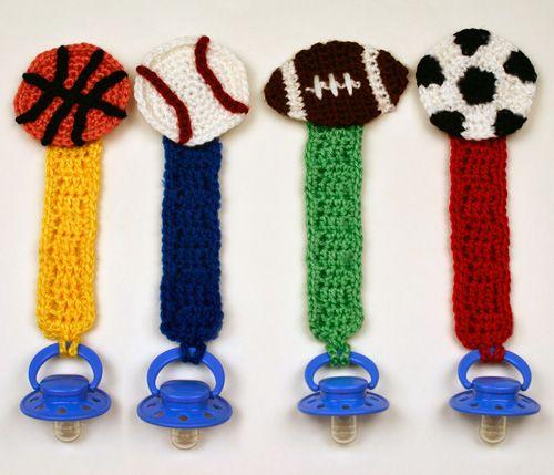 crochet sporty pacifier holders