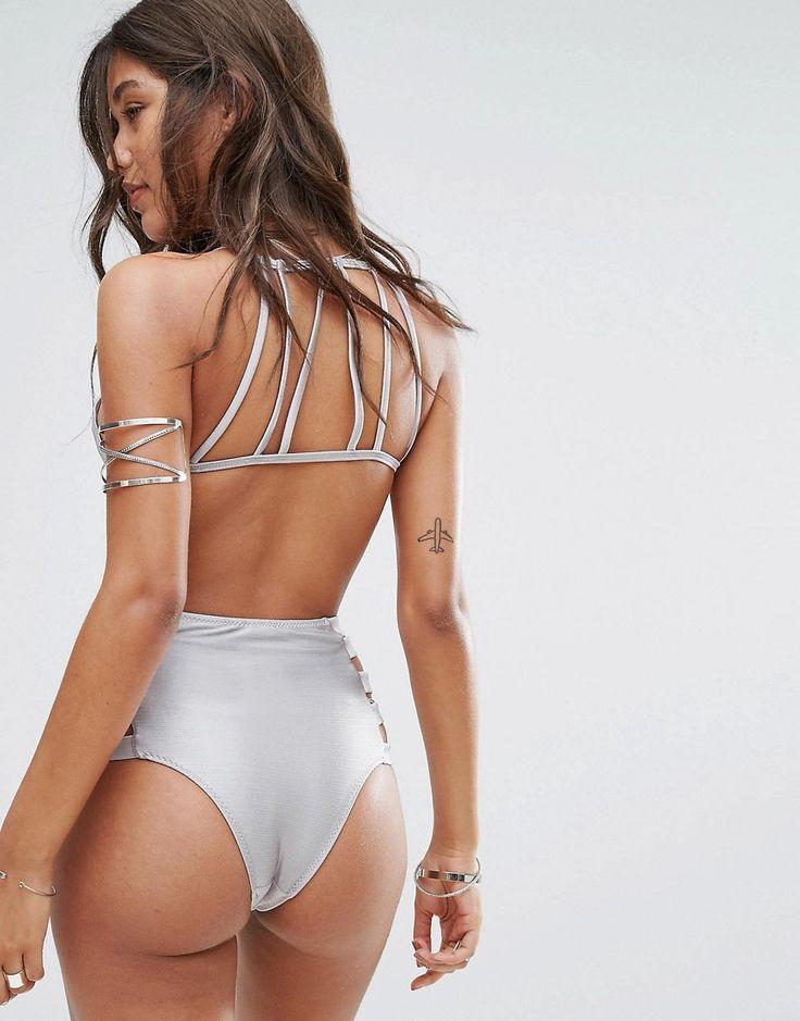 And Co Satin Rib Brazilian Bikini Bottom - Silver