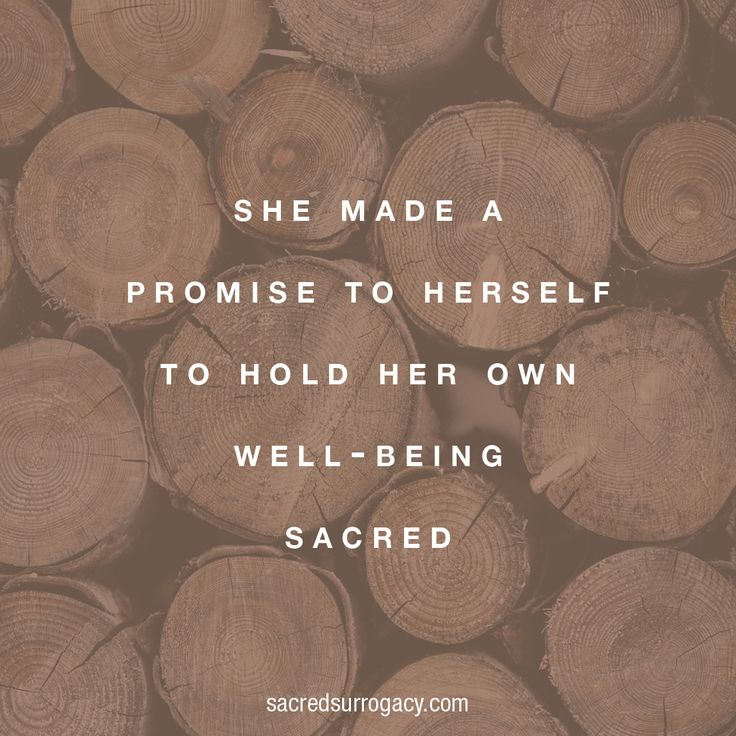 She made a promise to herself to hold her own well-being ...