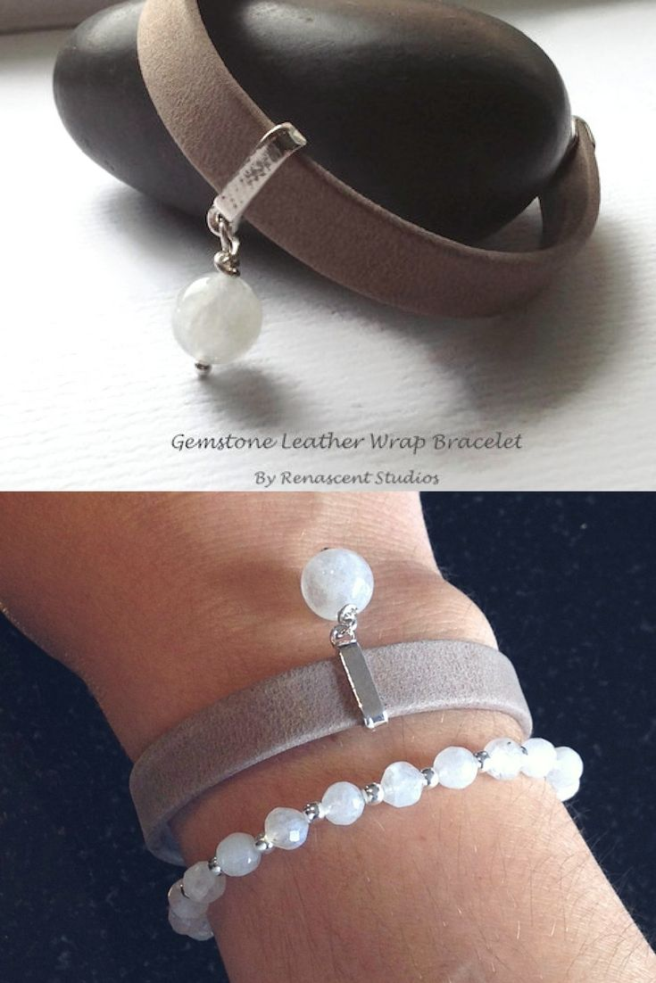 This leather wrap charm bracelet features buttery soft, Moccachino leather and has a hand wrapped gemstone charm bead of your choice attached  renascentstudios.etsy.com