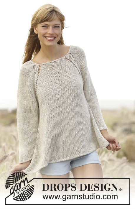 "Everyday Comfort - Knitted DROPS jumper worked top down with raglan and A-shape in ""Bomull-Lin"" or ""Paris"". Free Pattern"