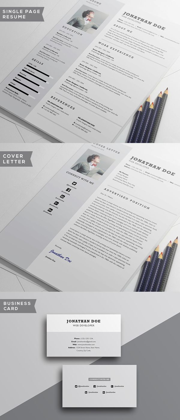 Free Minimalistic #CV/#Resume Templates with Cover Letter…