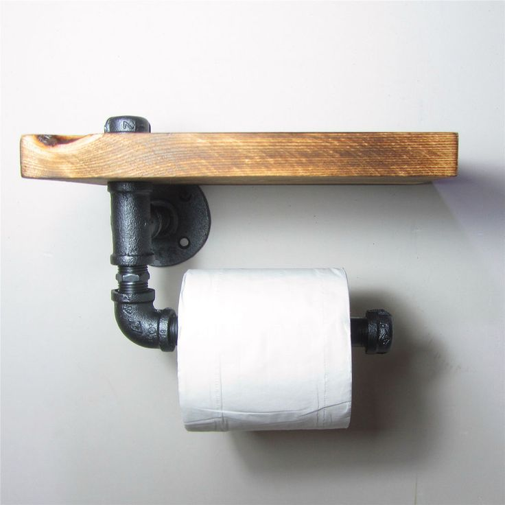 Industrial Style Iron Pipe Toilet Paper Holder Roller With Wood Shelf #Unbranded