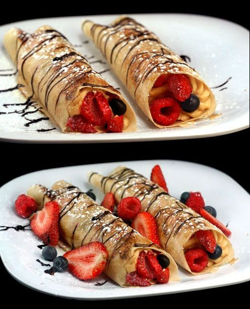 Skim Milk Crepes with Low-Fat Cheesecake or PB Cheesecake filling, loaded with Berries. One of my favorite guilt-free indulgences.