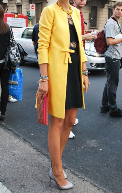 Yellow Bowknot Front H-line Simple Wool Blend Coat - Sheinside.com