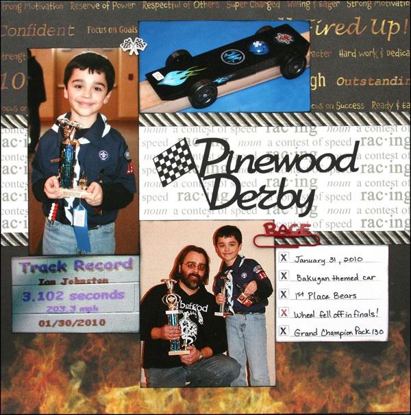 Pinewood Derby: Sports Scrapbook Supplies at Scrappin` Sports Stuff