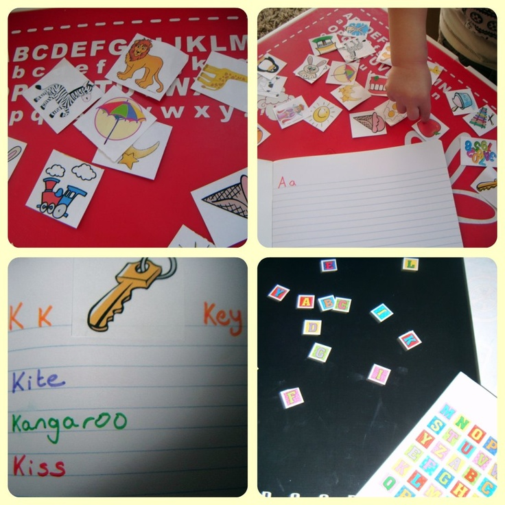 Homemade Alphabet book.  Easy (cheap!) way to teach toddlers letters and spelling.