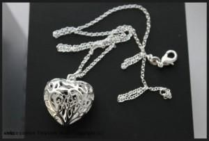 925 Sterling Silver Layered Hollow Heart Necklace