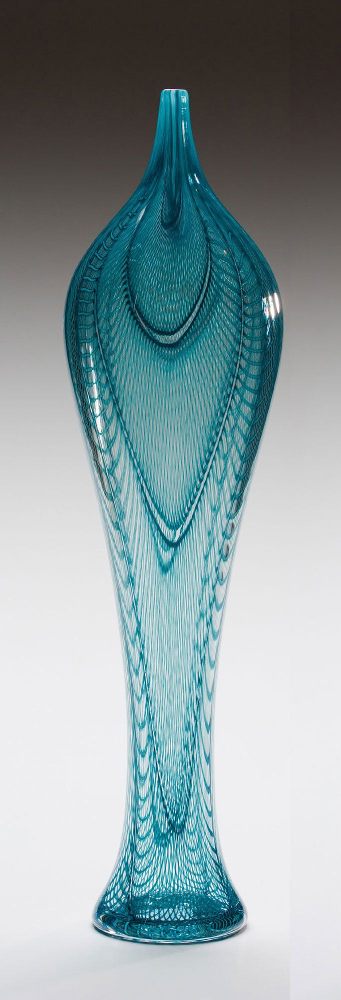 """Sage Iris Form"" Art Glass Vessel Created by Kenny Pieper"