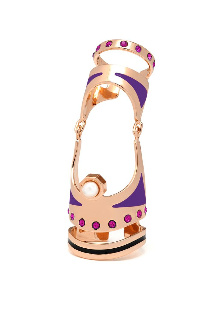 Maria Francesca Pepe Articulated ring with enamel, swarovski and pearl Shop now> https://www.mariafrancescapepe.com/showplarge.aspx?prodid=798&catid=47&utm_source=Social&utm_medium=Pinterest&utm_campaign=Fw14_articulatedring_%20gold