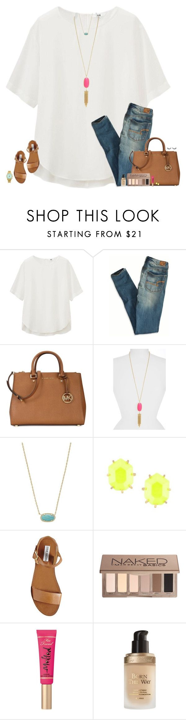 """""""Spring Days☀️"""" by maggie-prep ❤ liked on Polyvore featuring Uniqlo, American Eagle Outfitters, Michael Kors, Kendra Scott, Steve Madden, Urban Decay and Too Faced Cosmetics"""