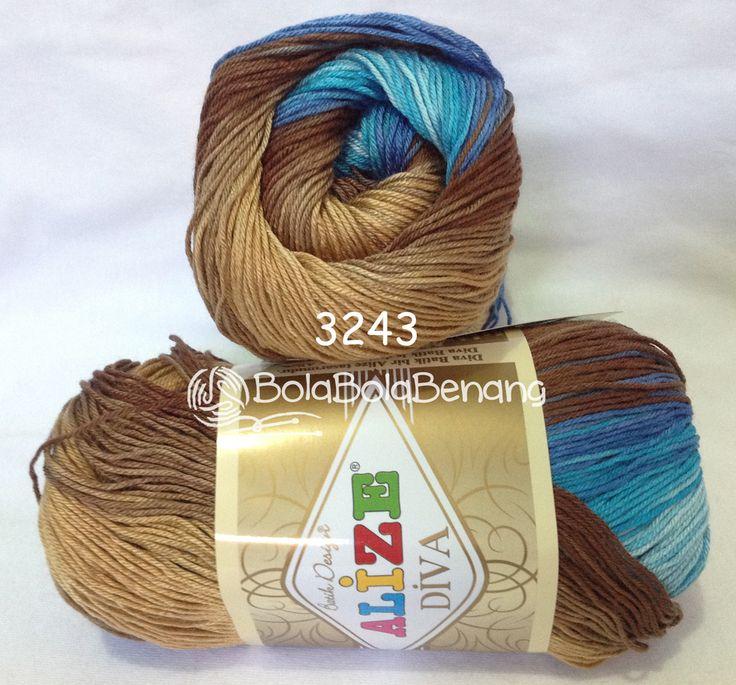 ALIZE DIVA BATIK 3243, Price: 90.000,-/gulung, Bahan: 100% Microfiber Akrilik, Berat/Panjang: 100gr/350m, Knitting Needles: 2,5mm – 3,5mm, Crochet Hook: 1mm - 3mm