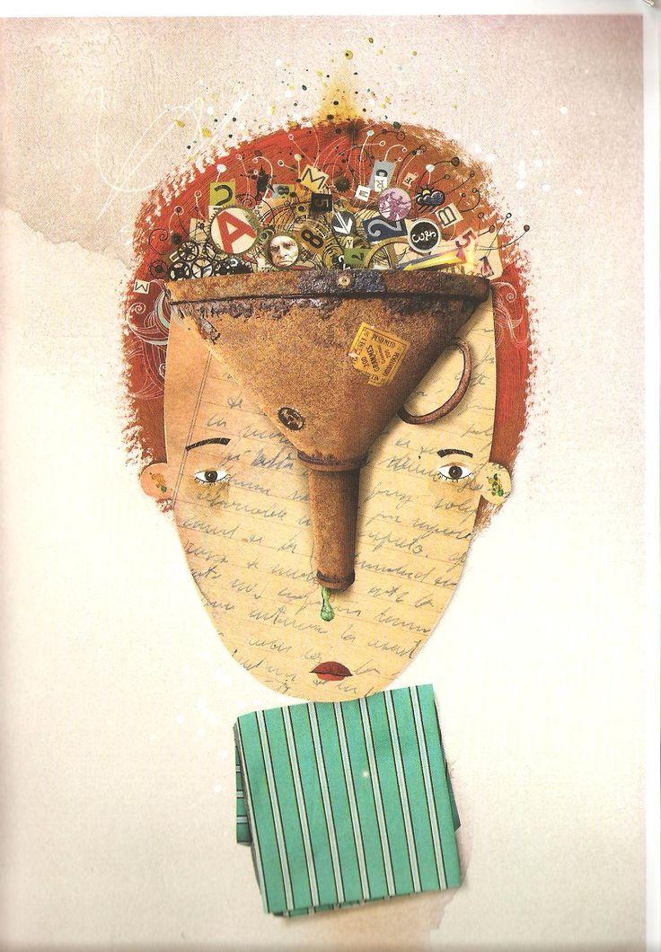 """Los Mocos Pablo Bernasconi, en """"La verdadera explicación"""", ilustrada y escrita por él.  """"Cuando el cerebro detecta una enseñanza que prefiere no guardar, como por ejemplo la fecha de un acontecimiento histórico, ese dato se transforma en un menjunje verdoso que escupe el parietal izquierdo y que desciende por un cañito hasta ubicarse, en las fosas nasales, junto con otros datos inservibles, como el nombre de algún prócer o un número de la tabla de multiplicar"""" (Bernasconi, 2012: 36)."""