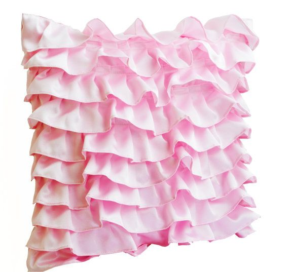 Decorative pillow in Soft Pink Satin with Ruffles by AmoreBeaute