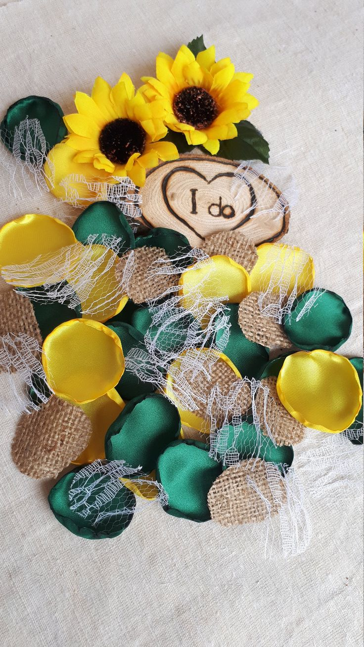 Sunflower Yellow Forest Green Burlap & Lace Handmade Satin