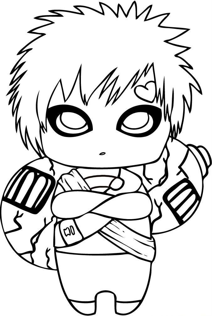 Gaara Children Coloring Pages For Kids Printable Naruto
