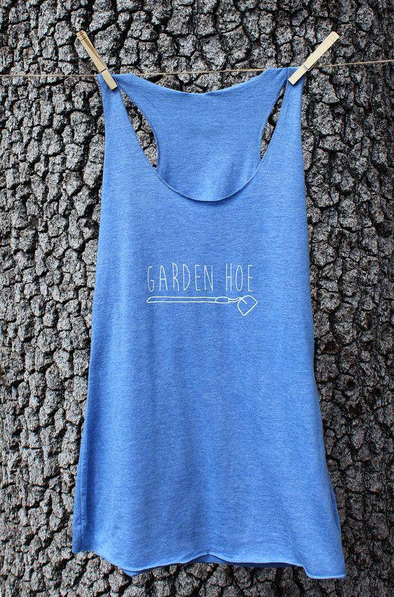 GARDEN HOE - Gardening Shirt - Yoga Top - Blue Women's Triblend Tank Top - Screenprinted S,M,L