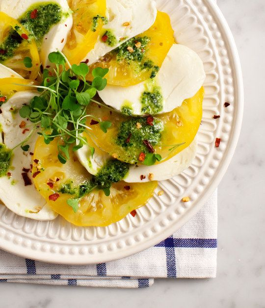 Heirloom Caprese with Mint Pesto