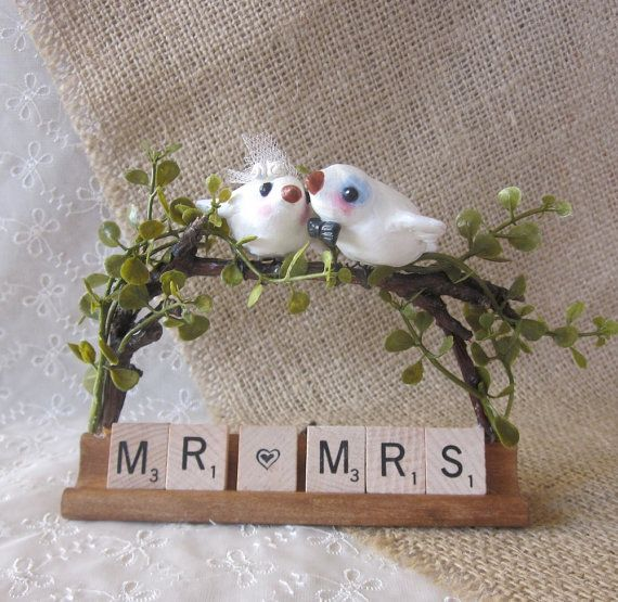 maybe without the birds, but I do like the scrabble lettersBirds Theme, Place Cards, Amazing Cakes, Scrabble Cake, Theme Wedding, Places Cards, Table Numbers, Cake Toppers, Scrabble Letters