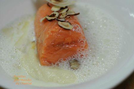 Saumon basse température, purée d'artichaut à la truffe et lait mousseux au Parmesan | Assiettes Gourmandes