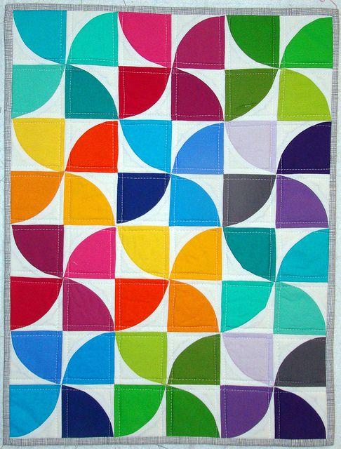 solids pinwheel quilt.  love.Dolls Quilt, Quilt Block, Pattern Fabrics, Colors Combinations, Minis Quilt, Pinwheels Quilt, Drunkards Paths Quilt, Bright Colors, Colors Quilt