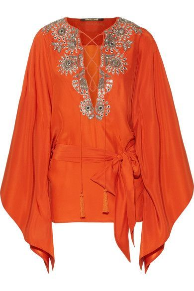 Roberto Cavalli - Embellished Silk-satin Blouse - Bright orange - IT46