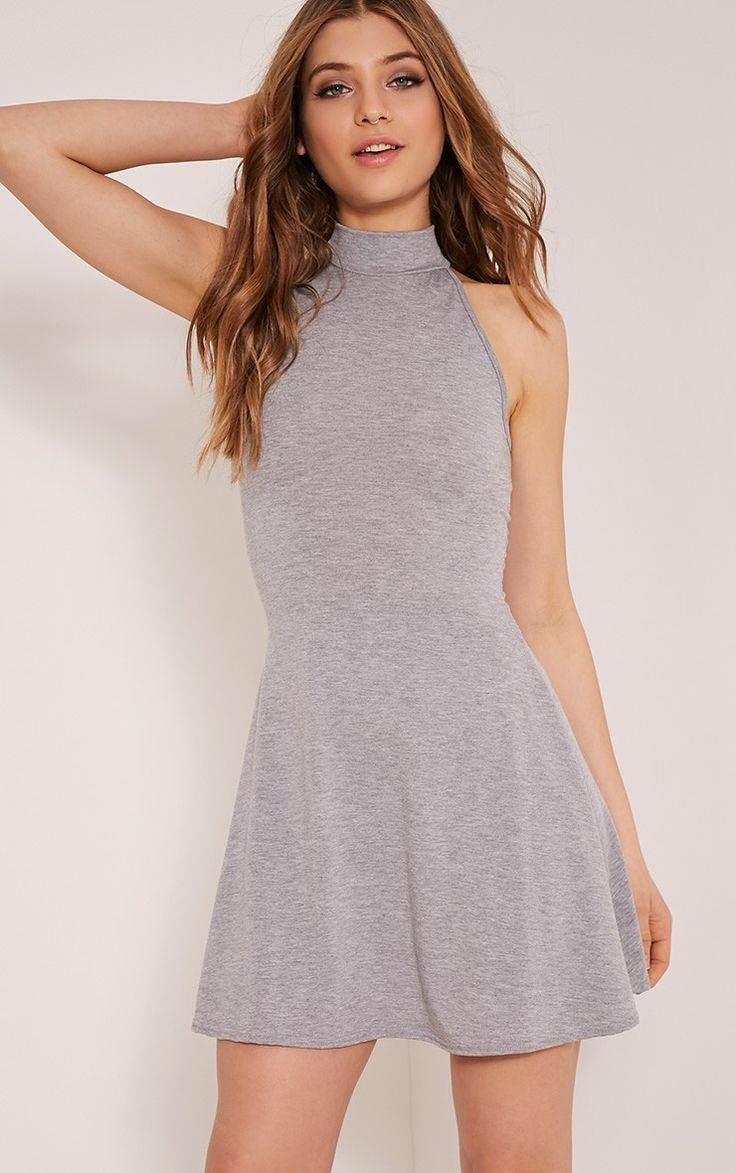 Basic Grey High Neck Jersey Skater Dress Image 1