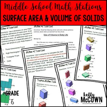 This math station activity is intended to help students understand how to find the volume of a right rectangular prism with fractional edge lengths, how to show the volume in two different ways, apply the volume formulas to right rectangular prisms, represent three-dimensional figures using nets to make rectangles or triangles, use the nets to find the surface area of rectangles and triangles, and to apply techniques in context to solve real world mathematical problems.