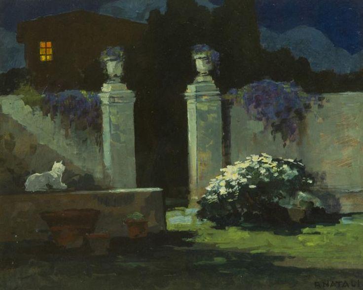 Giardino notturno con gatto / Nocturnal garden with cat, ca 1940, Renato Natali. Italian (1883 - 1979)