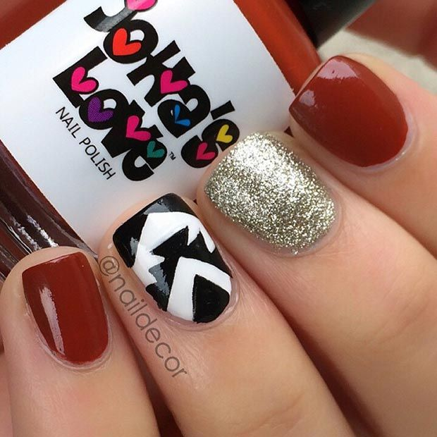 Red Gold and Black Nail Design
