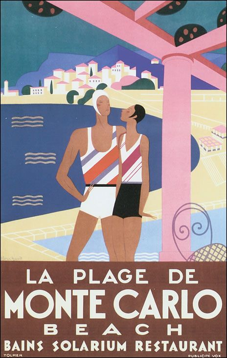 La plage de Monte Carlo Beach French Riviera Vintage travel beach poster art deco #essenzadiriviera www.varaldocosmetica.it/en