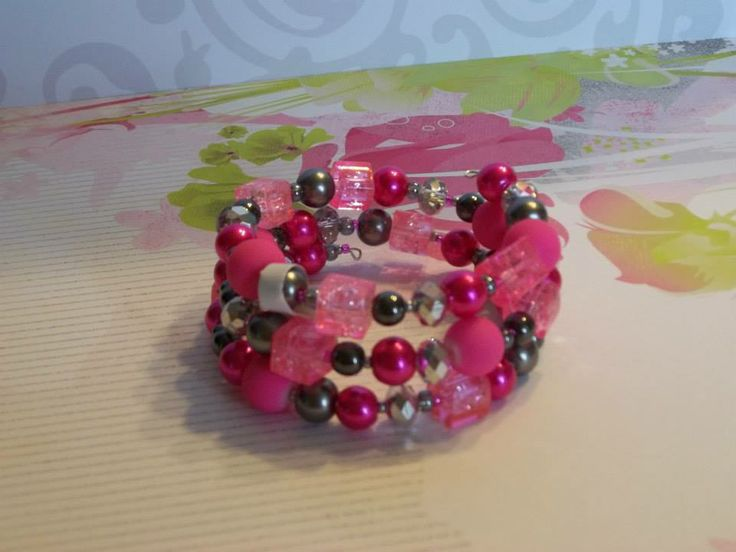 Pink, silver and hematite combined to make this stunning bracelet