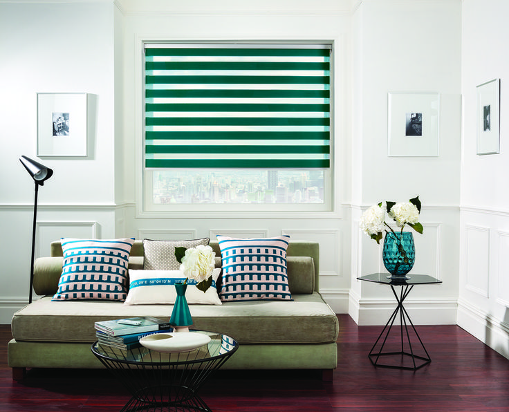 Vision® Blinds by Louvolite® Capri Colour - Jade - open with transparency.