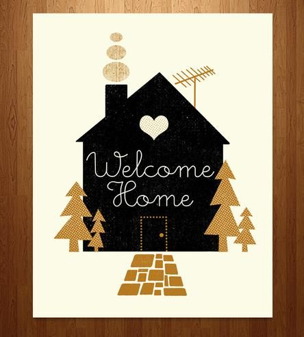 Set the scene for a cozy coming-home welcome with this print. Besides a door, a heart and all other things that a home requires, this print also sports a little chimney. The best homes do.