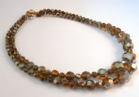 Vintage Bronze Tone Carnival Glass Crystal Double Stranded Necklace By Exquisite.