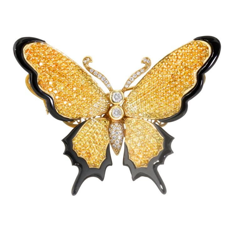 Sapphire Diamond and Gold Butterfly Brooch | From a unique collection of vintage brooches at http://www.1stdibs.com/jewelry/brooches/brooches/
