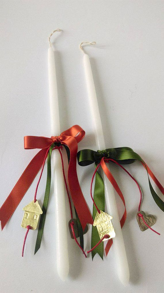 Two Easter candles for couples,Greek Easter candles,Easter lambades,Orthodox lambades,Easter gift for couples,Easter unisex adults candles